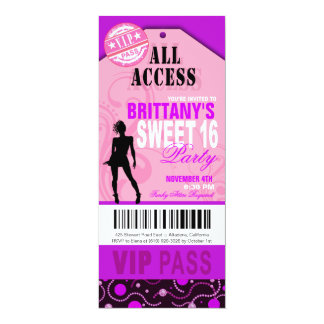 Pink and Purple VIP Sweet 16 Ticket Party 4x9.25 Paper Invitation Card