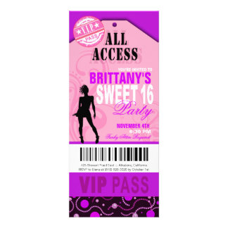 Pink and Purple VIP Sweet 16 Ticket Party Custom Announcement