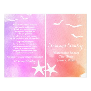 Beach Themed Pink and purple watercolor beach wedding program