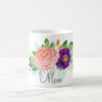 Pink and Purple Watercolor Floral Coffee Mug