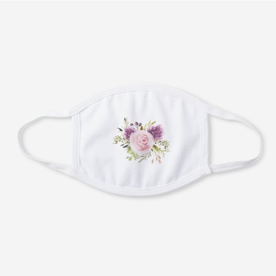 Pink and Purple Watercolor Flowers Greenery White Cotton Face Mask