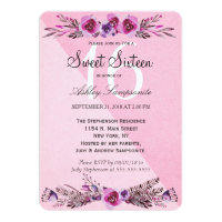 Pink and Purple Watercolor Flowers Sweet 16 Invite