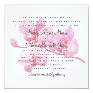 Pink and Purple Watercolor Orchid Square Wedding Card