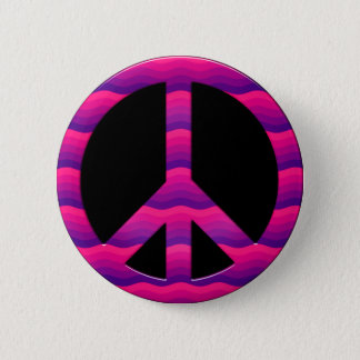 PINK AND PURPLE WAVES PEACE SIGN PINBACK BUTTON