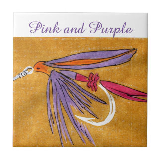 """""""Pink and Purple"""" wet fly tile. Tile"""