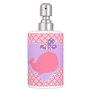 Pink and Purple Whale Bathroom Set