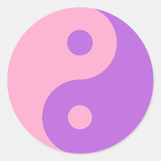 Pink and Purple Yin Yang Classic Round Sticker