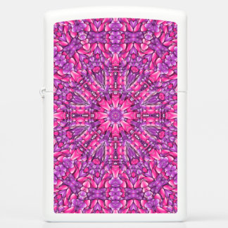 Pink And Purple Zippo White Matte Pocket Lighter