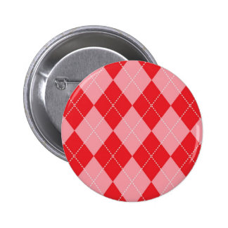 Pink and Red Argyle Pattern Pinback Button