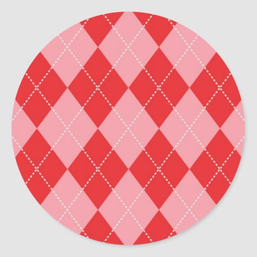 Pink and Red Argyle Pattern Classic Round Sticker