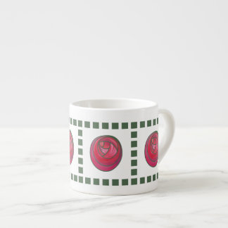 Pink and Red Art Nouveau Roses Tile Pattern Mugs 6 Oz Ceramic Espresso Cup