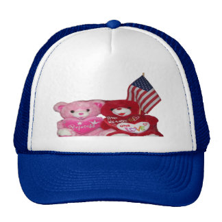 Pink And Red Bear With American Flag Hat