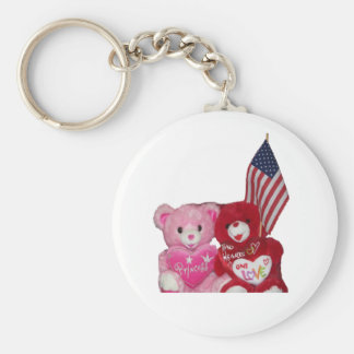 Pink And Red Bears With American Flag Keychain