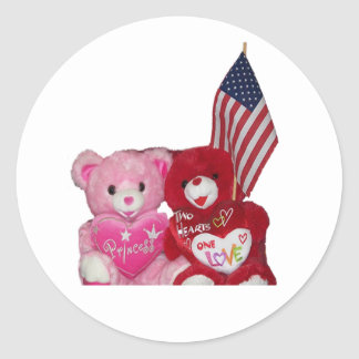 Pink And Red Bears With American Flag Sticker