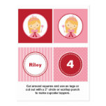 Pink and Red Blonde Princess Cupcake Toppers Post Card