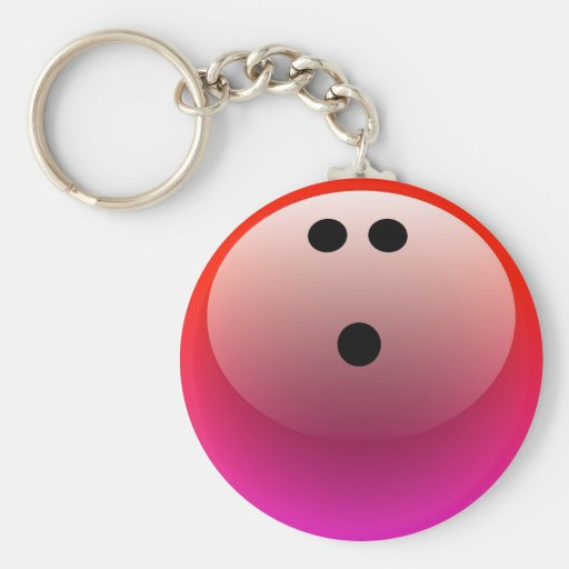PINK AND RED BOWLING BALL KEY CHAIN