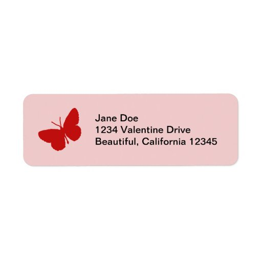 Pink and Red Butterfly Address Labels