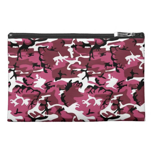 Pink and Red Camo Travel Accessory Bags