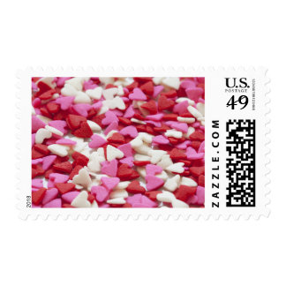 Pink and Red Candy Hearts Wedding Postage