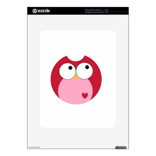 Pink and Red Cartoon Owl Decal For The iPad
