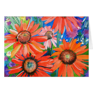 Pink and Red Coneflowers Greeting Card