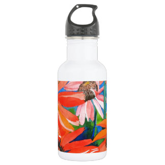 Pink and Red Coneflowers Stainless Steel Water Bottle