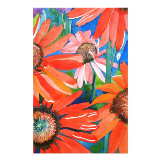 Pink and Red Coneflowers Stationery Paper
