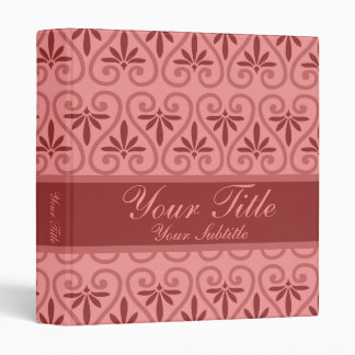 Pink and Red Damask Pattern Vinyl Binders
