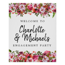 Pink and Red Floral Engagement Party Welcome Sign