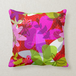 Pink and Red Floral Pillow