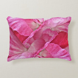 Pink and Red Floral Poppy Flower Accent Pillow