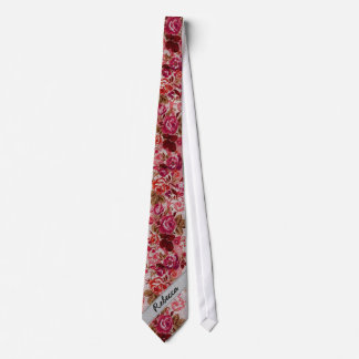 Pink and Red Floral Rose Paint Monogram Neck Tie