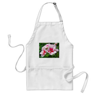 Pink and Red Geranium Floral Adult Apron