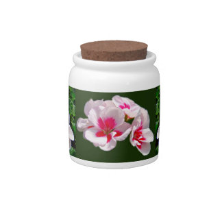 Pink and Red Geranium Floral Candy Jars