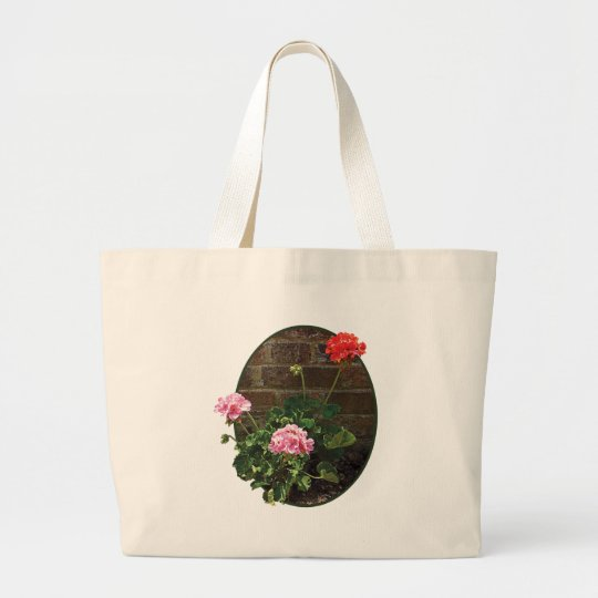 Pink and Red Geraniums Against Brick Large Tote Bag