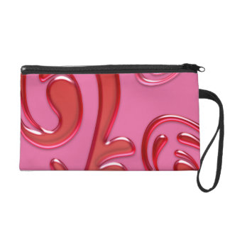 Pink And Red Glossy Gel Flourish Wristlet Purse