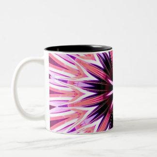 Pink and red glowstick star Two-Tone coffee mug