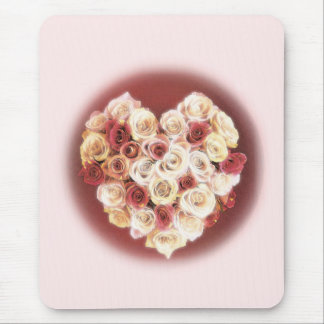 Pink and Red Heart of Roses Mouse Pad