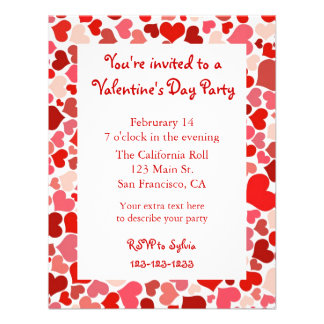 Pink and Red Heart Valentine s Day Invitation