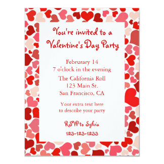 Pink and Red Heart Valentine's Day Invitation