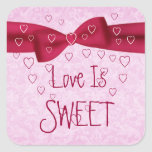 Pink and Red Heart with Bow - Love is Sweet Square Sticker