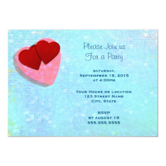 Pink and Red hearts on a Blue Generic Party Card