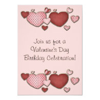 Pink and Red Hearts Valentine's Day Birthday Party Card
