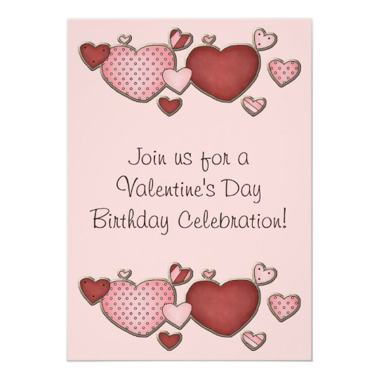Pink And Red Hearts Valentine S Day Birthday Party Invitation