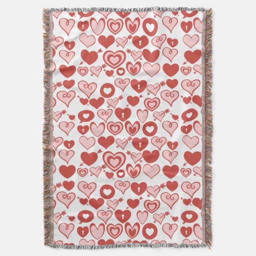 Pink and Red Hearts Valentines Day Pattern Throw