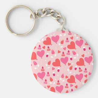 Pink and Red Hearts with Roses and Champagne Glass Basic Round Button Keychain