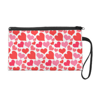 Pink and Red Hearts Wristlet Purse
