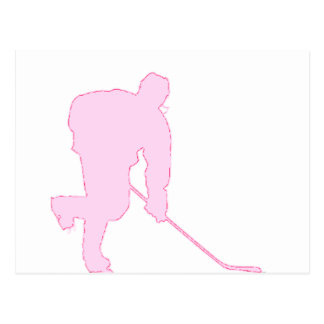 PINK AND RED HOCKEY POSTCARD