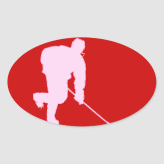 PINK AND RED HOCKEY OVAL STICKER