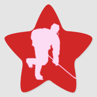 PINK AND RED HOCKEY STAR STICKER
